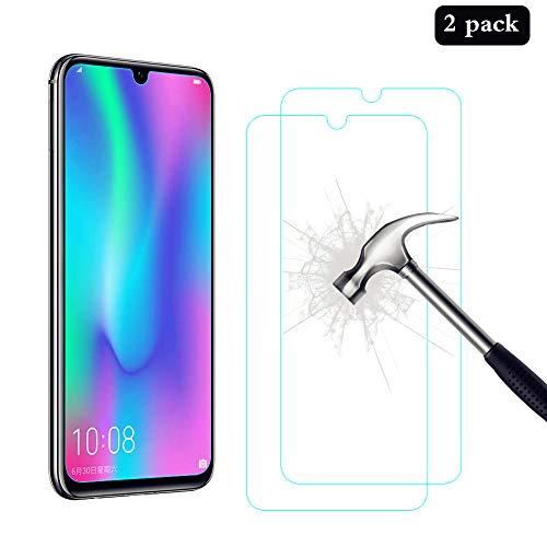 AHABIPERS 2 Stück Panzerglas schutzfolie für Huawei P Smart 2019 / Honor 10 Lite/Honor 20 Lite/Huawei P Smart 2020, HD Festigkeit Schutzfolie, Anti-Kratzer/Bläschen/Fingerabdruck Panzerglasfolie