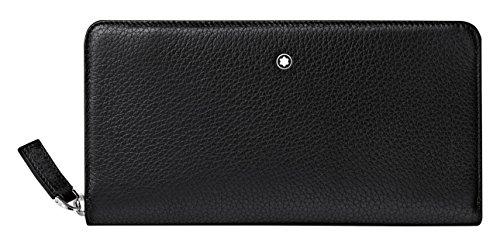 Montblanc Meisterstück Soft Grain längliche Brieftasche 8 cc mit Reißverschluss Münzbörse, 20 cm, Schwarz
