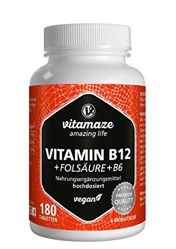 Vitamina B12 ad alto Dosaggio con Acido Folico + Vitamina B6 Metilcobalamina, 180 Compresse Vegan per 6 Mesi, Qualità Tedesca, Naturale Integratore Alimentare senza Additivi non Necessari