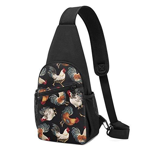 Sling Bag für Herren Anti-Diebstahl Schulterrucksack Leichte Crossbody Outdoor & Gym, Orange - Cartoon-Hühner-Hahn-Muster, schwarz - Größe: Einheitsgröße