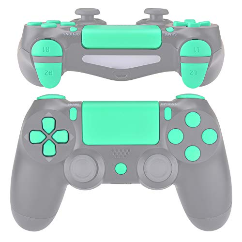 eXtremeRate Replacement D-pad R1 L1 R2 L2 Triggers Touchpad Action Home Share Options Buttons for PlayStation 4 Controller, Mint Green Full Set Buttons Repair Kits for PS4 Slim Pro CUH-ZCT2 Controller