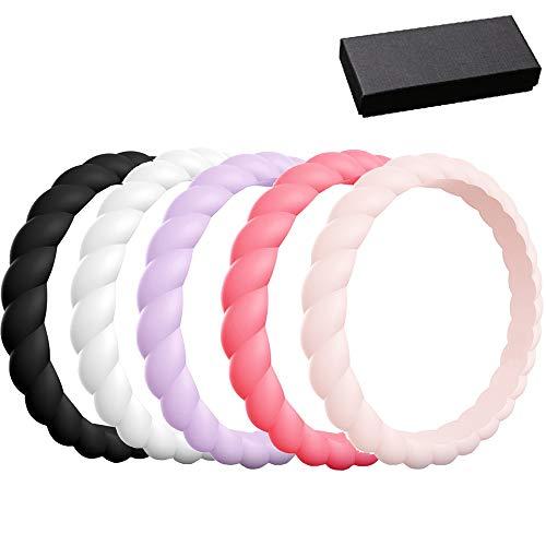 AIYoo - Juego de anillos de boda de silicona para hombres y mujeres, banda de goma elástica premium, 5 unidades, anillos de amor flexibles de grado médico, aptos para deportes y exteriores, entrenamiento, fitness, atletas y caja de regalo, multicolor, 8(18.2mm)