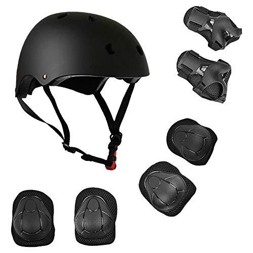 Lixada Juego de casco y almohadillas 7 en 1 para niños, ajustables, rodilleras, coderas y muñequeras para scooter, monopatín, patinaje, ciclismo