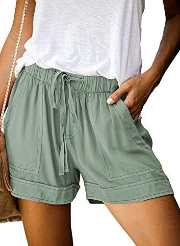 Dokotoo Womens Shorts for Summer Casual Comfy Drawstring Beach Elastic Midi Rise Waist Solid Color Vacation Shorts with Pockets Green Large