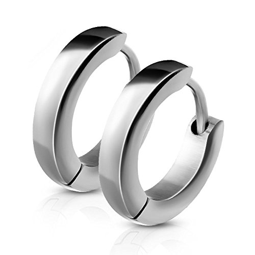 Schmale Creolen von Bungsa®   Hochwertige Edelstahl-Ohrringe Damen & Herren   Edelstahl-Creolen für jeden Anlass   Creolen-Silber