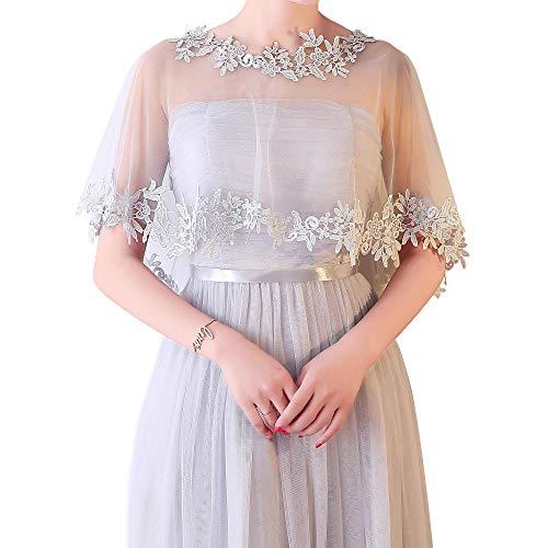 CHIC DIARY Elegante vestido de novia, capa de encaje, tul, capa retro, para vestido de noche, vestido de cctel. gris Talla nica