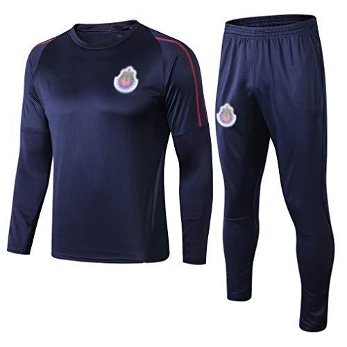 CLL-mls European Football Club Herren Fußball Langarm Sportswear Atmungsaktiv Sportbekleidung Blau Training Uniform (Top + Hose) ZQY-A0994, Synthetikfaser, blau, M