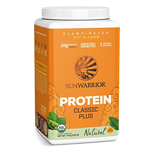 Sunwarrior - Classic Plus - Vegan Protein Powder with Peas and Brown Rice Raw Organic Plant Based Protein - Natural - 750g
