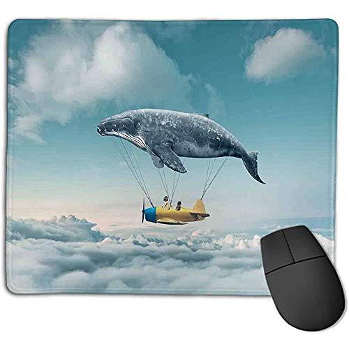 Muismat vliegtuig decor droom luchtschip fee fantasie over de wolken landschap Wal Aarde Planet Grijs Geel Blauw e