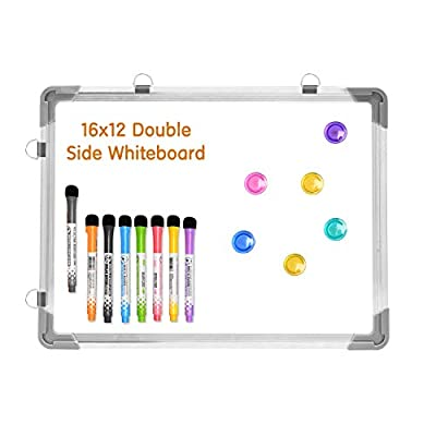 Magnetic Dry Erase White Board for Wall?Small Dry Erase Whiteboard Includes 8 Magnetic Dry Erase Markers?Double Sided Whiteboard for Kids, Home, Office, School