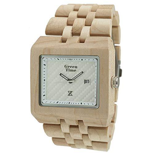 Orologio Green Time Square Uomo Legno Acero Timewood Quadrato ZW004B