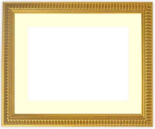 写真用額縁 9602/ゴールド Lサイズ(127×89mm) ガラス マット付 マット色:黒