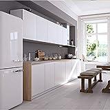 Hode Selbstklebende Folie Dekorfolie Klebefolie für Möbel Küche Oberflächenschutz Wasserdicht Vinyl Hochglanz Mit Glitzerpartikel Effekt Weiß 40cmX300cm - 4