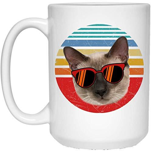 N\A Taza de café Retro Puesta del Sol marrón Claro Crema Gato siamés Divertido