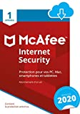 McAfee 2020 Internet Security   1 Appareil   1 An   PC/Mac/Android/Smartphones   Download Code
