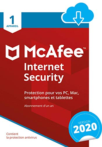 McAfee 2020 Internet Security | 1 Appareil | 1 An | PC/Mac/Android/Smartphones | Download Code