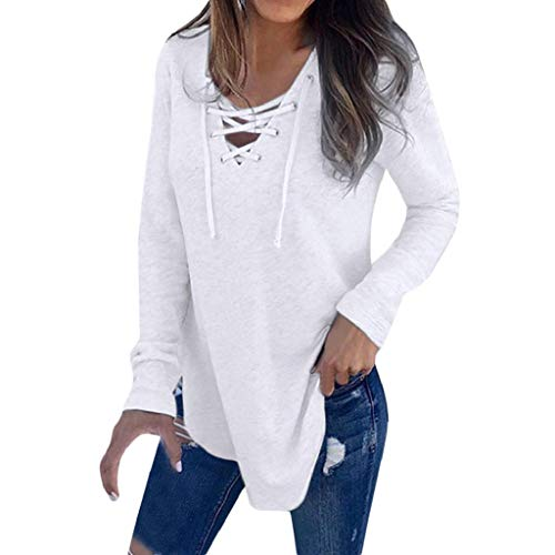 SHOBDW Mujeres Primavera Cuello en V Vendaje Cruzado Diseño Frontal Elegante Sexy Soild Correa Más tamaño Camiseta de Manga Larga Tops Sueltos Sudadera Jersey Blusa Diaria(Blanco,S)