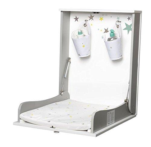 Badabulle Easy Wandwickeltisch, klappbare Wickelkommode zur Anbringung an der Wand, inkl. Badezimmerspiegel und Organizer für Wickelutensilien