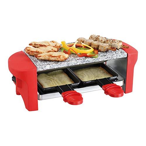 Raclette 2 Personen Grillplatte Heißer Stein Tischgrill Elektrogrill (2 Pfännchen, Antihaftbeschichtung, Grill, Rot)