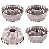 CHEFMADE Mini Bundt Pan Set, 4-Inch 4Pcs Non-Stick Tube Pan Kugelhopf Mold for Oven and Instant Pot...