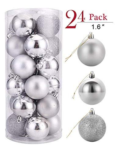 YIKEF 24 Piezas Bolas de Navidad de4cm, Adornos Navideños para Arbol, Decoración de Bolas de Navidad Inastillable...