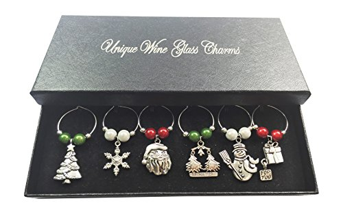 Libby's Market Place Merry Christmas Wine Glass Charms with Gift Box
