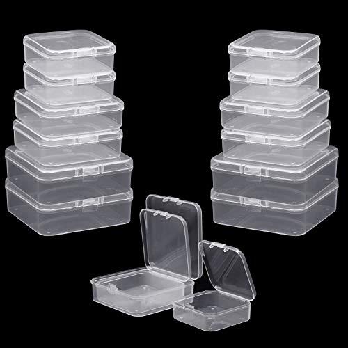 BELLE VOUS Perlen Aufbewahrungs Behälter (27er Set) - Mini Quadratisch Kunststoff Aufbewahrungsbehälter mit Deckel - 3 Größe Transparente Stapel-Box für Schmuckzubehör und andere kleine Artikel
