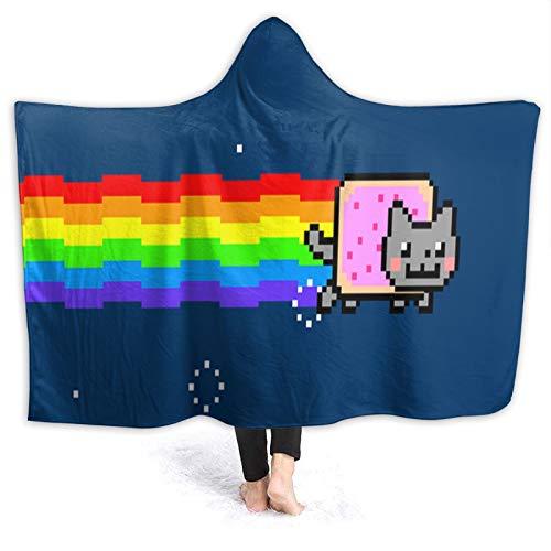XIAOYANFA Cute Nyan Cat Adult Hooded Blankets 3D Plush Sherpa Fleece Soft Winter Home Sofa 60x80 Inch
