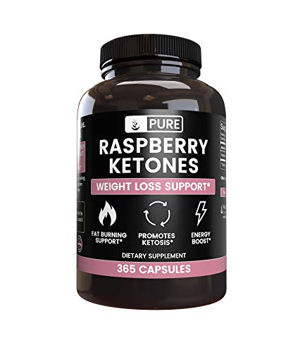 Natural Raspberry Ketone, 365 Capsules, 4-Month Supply, No Stearate or Rice Filler, Potent, Antioxidant-Rich, Made in The USA, 1050mg Pure Raspberry Ketone with No Additives