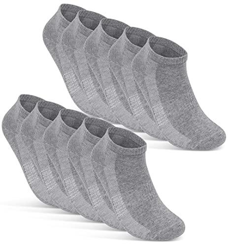 10 Paar Sneaker Socken Herren Damen Schwarz Weiß Grau Baumwolle Mesh 16510 (39-42 Grau)
