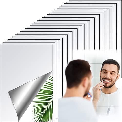 30 Hojas de Espejo Flexibles Azulejos de Espejo Autoadhesivos sin Vidrio Pegatinas de Espejo para Decoración de Pared Hogar (5,9 x 3,9 Pulgadas)