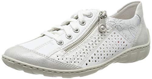Rieker Damen Schnürhalbschuhe M37G6, Frauen sportlicher Schnürer, Ladies feminin elegant,White-Silver/Weiss/Weiss-Silber/Silver / 80,41 EU / 7.5 UK