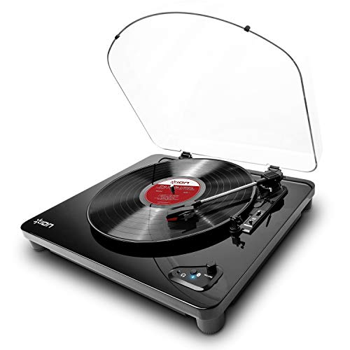 ION Audio Air LP - Platine Vinyle Bluetooth à Trois Vitesses (33, 45 et 78 Tours) avec Conversion USB - Finition Noir Brillant