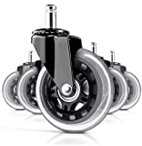 Set of (5) Office Chair Caster Wheels for Professionals- Holds 650 LBS Heavy Duty 3' Replacement Rubber Chair Casters, Rollerblade Style Caster Wheels for Hardwood or Carpet, NO Need for Plastic MATS