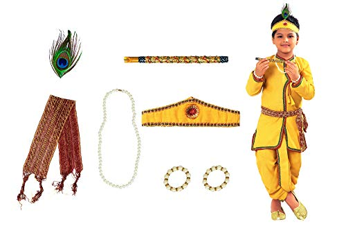 AHHAAAA Kids Ethnic Yellow Cotton Blend Festive Wear Krishna Dress for...