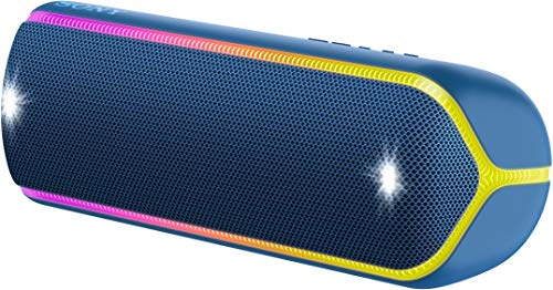 Sony SRS-XB32 Wireless Extra Bass Bluetooth Speaker with 24 Hours Battery Life, Party Chain, Party Light, Waterproof, Dustproof, Rustproof, Speaker wih Mic, Loud Audio for Phone Calls (Blue)