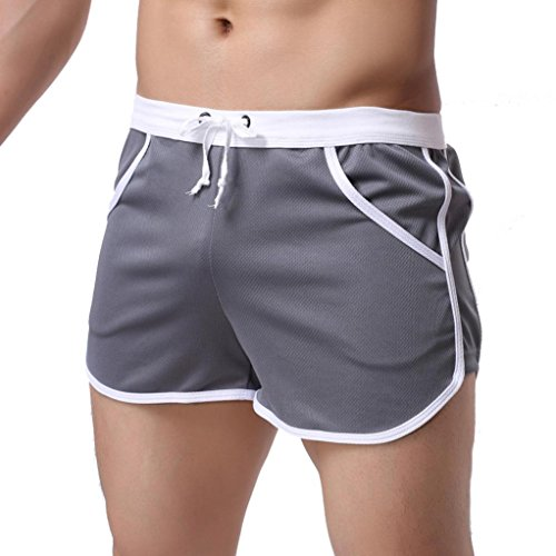Price comparison product image NEARTIME Men's Fitted Shorts,  Bodybuilding Workout Gym Running Loose Athletic Shorts Tight Lifting Sport Casual Pant Gray