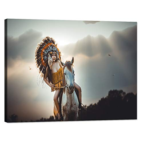 Modern Large Canvas Painting Prints and Poster Native American Girl with Horse 1 Piece Wall Art for Living Room Set Wooden Framed Ready to Hang for Office(40''W x 30''H)