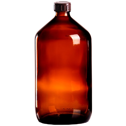 5 x Braunglasflasche 1000ml / Medizinflasche inkl. Standard-Schraubverschluss braun DIN 28