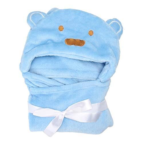 Heliansheng Turbante para niños, Albornoz de bebé, Toalla de baño de Animal Lindo, Manta de bebé de Dibujos Animados -Azul-C12