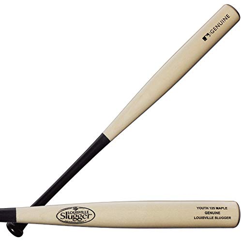Louisville Slugger Youth Genuine  Black/Natural  Maple Y125 Wood Baseball Bat  30quot