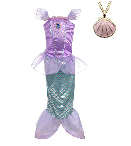 Lito Angels Girls Princess Dress Up Mermaid Costume Fairy Tales Mermaid Outfit with Necklace Size 2T Purple
