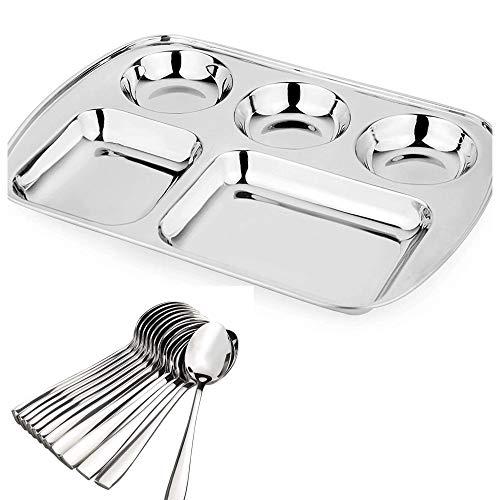Plato de cena de acero inoxidable con 5 compartimentos, con 2 cucharas gratis en cada plato, ideal para el hogar y uso comercial, opción de personalización disponible (50)
