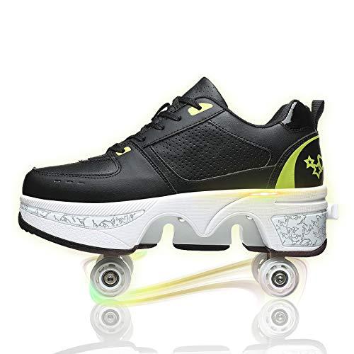 JZIYH Multifuncional de patines de rodillo de deformación masculina y femenina, con rueda retráctil de doble fila, patinaje invisible, negro y verde, 39
