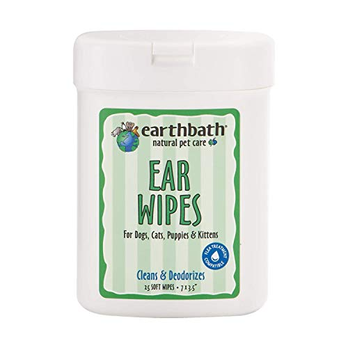 Earthbath Pet Ear Wipes - Cleans & Deodorizes, Aloe Vera, Vitamin E, Witch Hazel, Good for Dogs, Cats, Puppies, Kittens - Keep Your Pet's Ears Naturally Clear and Infection Free - 25 Count