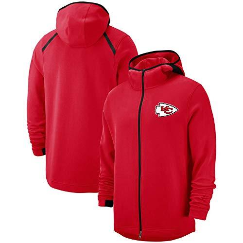 XSSC Kansas City Chiefs Hemd Hoodie Herren, American Football League Pullover Rugby Reißverschluss Sportswear Jacke Outdoor Freizeitjacke schwarz S-3XL 1Hoodie Sweater Red-M