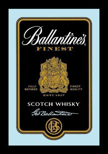 Ballantines Scotch Whisky Label Logo black Nostalgie Barspiegel Spiegel Bar Mirror 22 x 32 cm