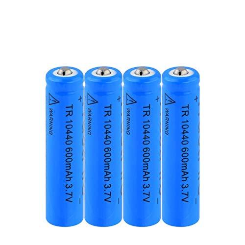 MNJKH BateríAs De Litio De 3.7v 10440 600mah, BateríAs De Iones De Litio Recargables para Linterna De Luz LED con Control Remoto 4pcs