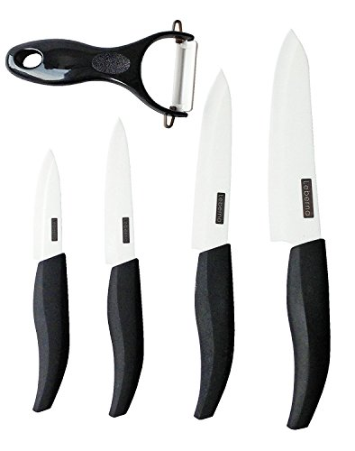Leberna Ceramic Knife Set - 5 Pieces | 6' Chef, 5' Utility, 4' Fruit, 3' Paring, and 1 Peeler | Advanced Revolution Professional Zirconia Blade, Chef's Kitchen Forever Knives, Never Needs Sharpening