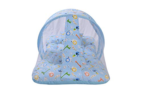 Toddylon New Born Baby Bedding Set Mattress with Mosquito Net and Pillow for 0-6 Months Baby Boy's & Baby Girl's (Blue Giraffe)